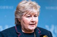"""""""Vi måste tänka på skärpta åtgärder för att hålla kontrollen in i slutspurten"""", säger Erna Solberg till tidningen VG."""