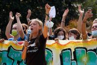 Greta Thunberg talade på en demonstration i samband med klimatmötet i Milano tidigare i oktober. Arkivbild.