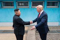 Nordkoreas ledare Kim Jong-Un och USA:s president Donald Trump skakar hand under ett möte vid den demilitariserade zonen den 30 juni 2019.