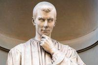 En leende Niccolò Machiavelli (1469–1527) i Uffizierna i Florens.