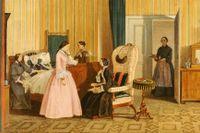 Inredning i Biedermeier-stil på en tavla från Österrike av en okänd konstnär.