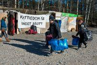 Ett läger med utsatta EU-medborgare i Sollentuna som avhystes 2014. Förr genomfördes de flesta avhysningar av Kronofogden. I dag engagerar sig polisen i stället mer och mer i frågan.