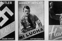 """Hitlers """"Mein kampf"""" i svensk, spansk och ungersk utgåva. Bild från 1937."""
