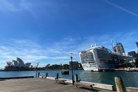 Ruby Princess i Sydneys hamn dagen då de smittade steg i land.