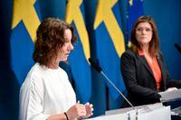 Matilda Ernkrans (S), minister för högre utbildning och forskning, och arbetsmarknadsminister Eva Nordmark (S) presenterar budgetförslag för arbetsmarknadsåtgärder och utbildning.