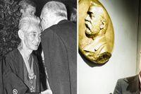 Till vänster: Yasunari Kawabata tar emot Nobelpriset av kung Gustav VI Adolf. Till höger: Nobelstiftelsens vd, Lars Heikensten.
