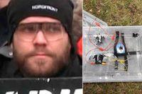 Viktor Melin, NMR-medlem som fällts för två bombattentat i Göteborg i vintras och friats från ett dåd. Till höger en av bomberna som placerades ut men som inte detonerade.