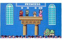 """Kung Bowser Koopa är besegrad! Prinsessan är befriad och Super Mario hissas och hyllas tillsammans med henne. Skäl nog för Per Fhager att brodera slutmotivet ur det legendariska tidiga dataspelet, som i sommar visas i hans utställning """"Game over"""" på Textilmuseet i Borås."""