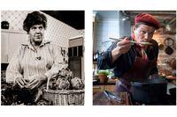 """Ria Wägner i """"Det är serverat"""" 1978 och Per Morberg i """"Vad blir det för mat"""" 2008."""