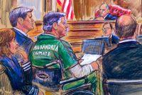 Teckning från domstolens kungörande av Paul Manaforts straff.