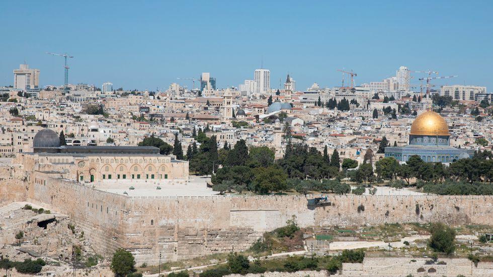 Tempelberget i Jerusalem, med Klippdomen och al-Aqsamoskén.