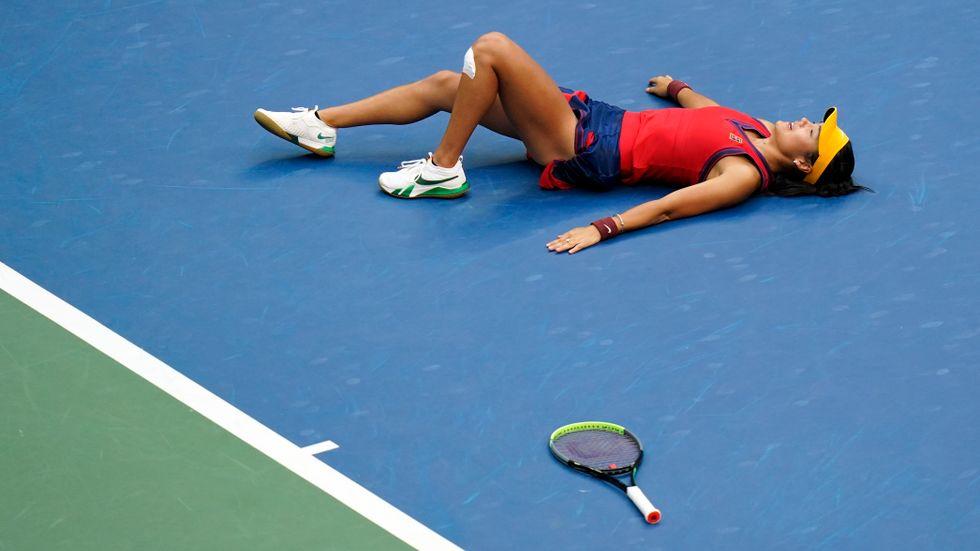 Emma Raducanu efter segern i US Open-finalen mot Leylah Fernandez. Arkivbild.