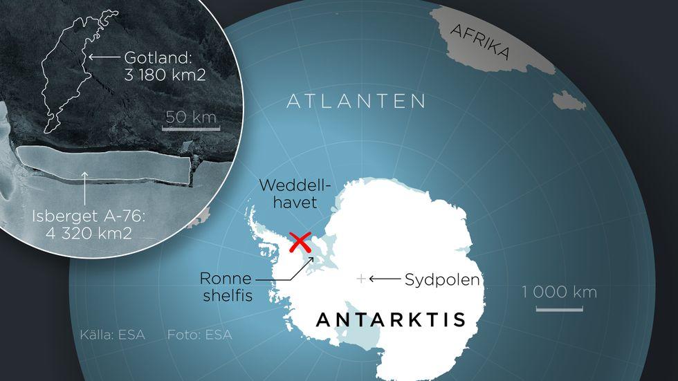 Karta som visar isberget som lossnat från Antarktis.