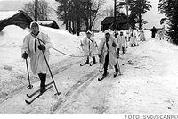 Finska skidtrupper rycker fram under vinterkriget