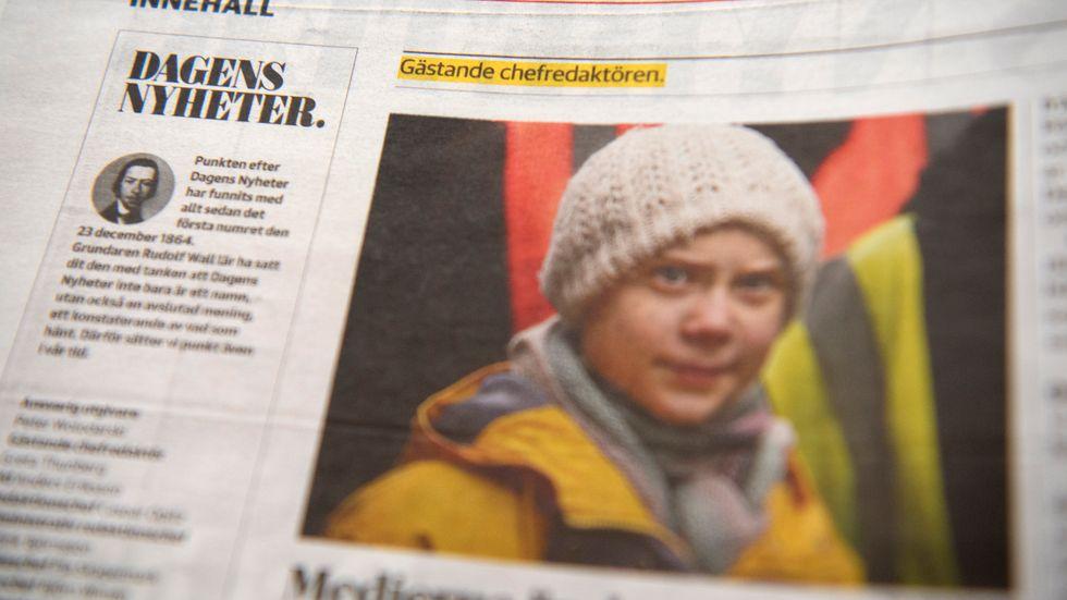 Klimataktivisten Greta Thunberg var gästredaktör för Dagens Nyheter i helgen.
