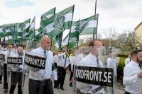 Nazistiska motståndsrörelsen (NMR) demonstrerar demonstrerar i Ludvika på första maj 2019.