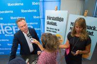 Folkpartiets partiledare Jan Björklund presenterar partiets valmanifest under en pressträff på Riksdagen. Förstatliga skolan blir profilfrågan i valet.