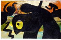 "Joan Miró, ""Figur, fåglar"", 1973. Olja på duk."