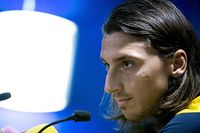 Zlatan Ibrahimovic under tisdagens presskonferens med svenska fotbollslandslaget på Råsunda.