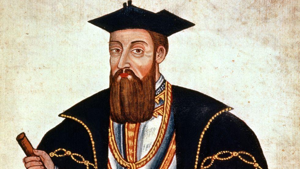 Vasco da Gama, teckning av Pedro Barretti de Resende från 1646.