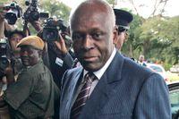 Angolas expresident José Eduardo dos Santos under ett besök i Zambia 2008. Hans son José Filomeno dos Santos har nu dömts till fem års fängelse för bedrägeri. Arkivbild.