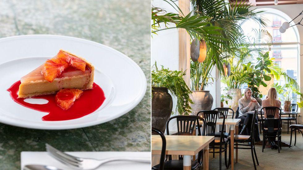 På Garba kan man äta en tarte på malt, vit choklad och äpple, serverad med blodapelsin.