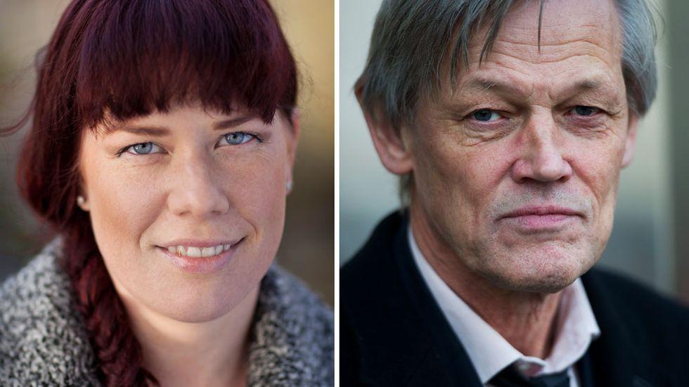 Till vänster journalisten Jenny Küttim som granskat fallet Quick under flera år, till höger kritiserade Göran Lambertz.