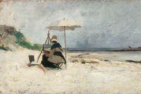 Emma Löwstädt-Chadwick, Strandparasollen, Bretagne (Porträtt av Amanda Sidwall), 1880.