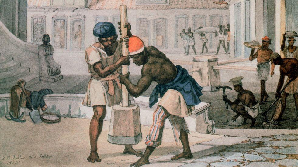 """Afrikanska slavar i Rio de Janeiro, 1824. Litografi av Jean Baptiste Debret, bilden ingick i verket """"Voyage Pittoresque et Historique au Bresil""""."""