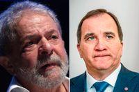 Till vänster Brasiliens tidigare president Luiz Inacio Lula da Silva, till höger Stefan Löfven. Arkivbild.