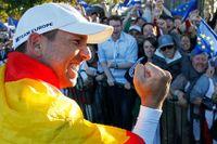 Spanjoren Sergio Garcia jublar efter Europas seger i Ryder Cup.