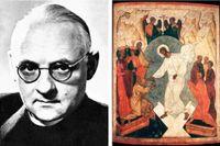 Hans urs von Balthasar (1905–1988). Till höger Jesus i dödsriket, rysk ikon från 1500-talet.